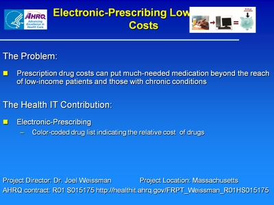 Slide 26. Electronic-Prescribing Lowers Drug Costs
