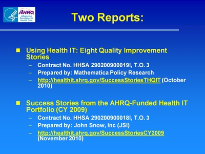 Slide 3. Two Reports