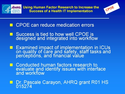 Slide 43. Using Human Factor Research to Increase the Success of a Health IT Implementation