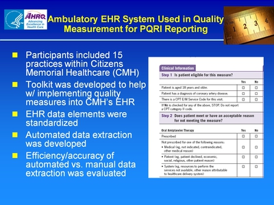 Slide 47. Ambulatory EHR System Used in Quality Measurement for PQRI Reporting