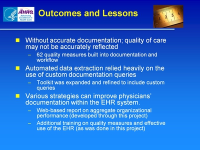 Slide 49. Outcomes and Lessons