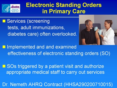 Slide 52. Electronic Standing Orders in Primary Care