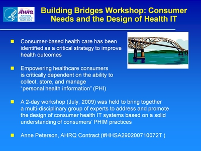 Slide 60. Building Bridges Workshop: Consumer Needs and the Design of Health IT