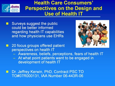 Slide 63. Health Care Consumers' Perspectives on the Design and Use of Health IT