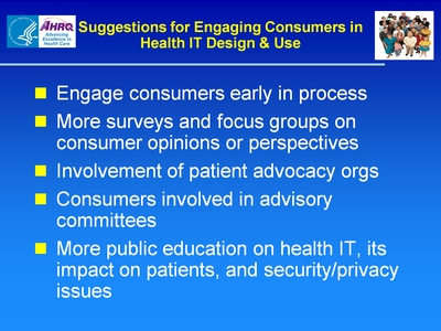 Slide 66. Suggestions for Engaging Consumers in Health IT Design and Use