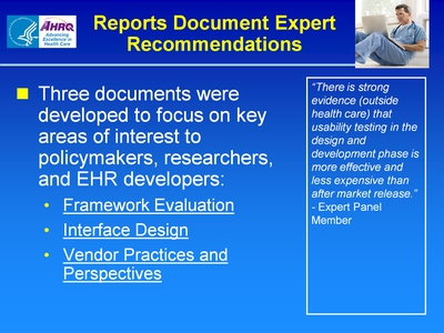 Slide 68. Reports Document Expert Recommendations