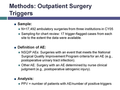 Methods: Outpatient Surgery Triggers