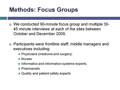 Methods: Focus Groups
