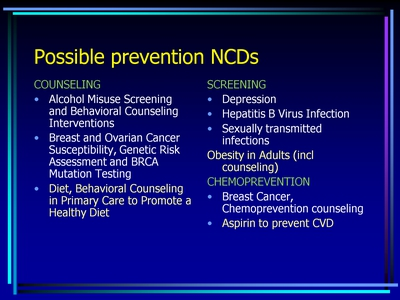 Possible prevention NCDs