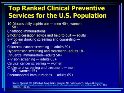 Top Ranked Clinical Preventive Services for the U.S. Population