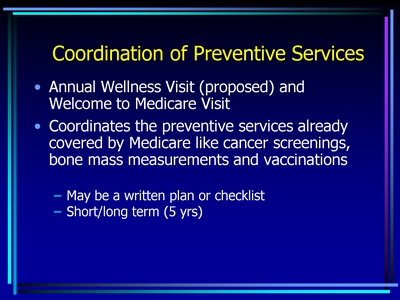 Coordination of Preventive Services