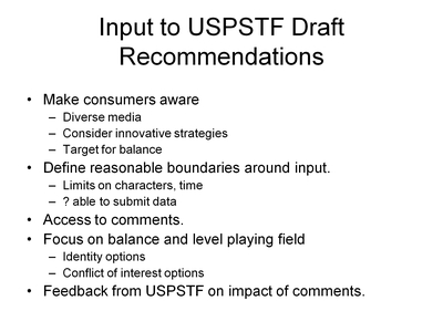 Input to USPSTF Draft Recommendations