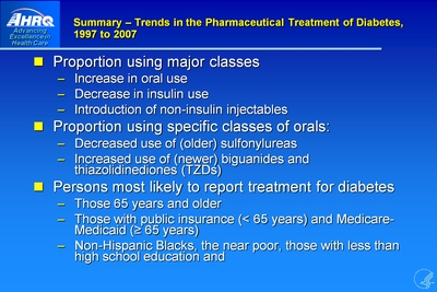 Summary: Trends in the Pharmaceutical Treatment of Diabetes, 1997 to 2007
