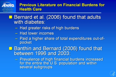 Previous Literature on Financial Burdens for Health Care