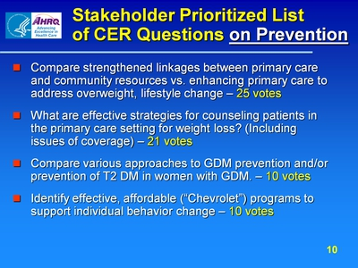 Stakeholder Prioritized List of CER Questions on Prevention