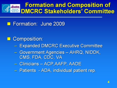 Formation and Composition of DMCRC Stakeholders' Committee