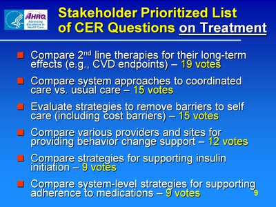 Stakeholder Prioritized List of CER Questions on Treatment