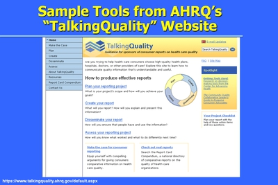 Sample Tools from AHRQ's TalkingQuality Website