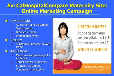 Ex: CalHospitalCompare Maternity Site: Online Marketing Campaign