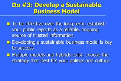 Do #3: Develop a Sustainable Business Model