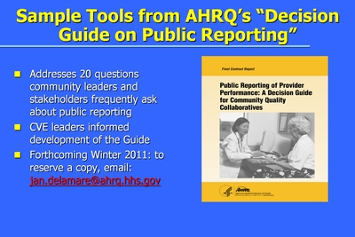 "Sample Tools from AHRQ's ""Decision Guide on Public Reporting"""