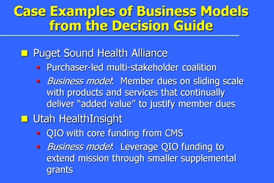 Case Examples of Business Models from the Decision Guide