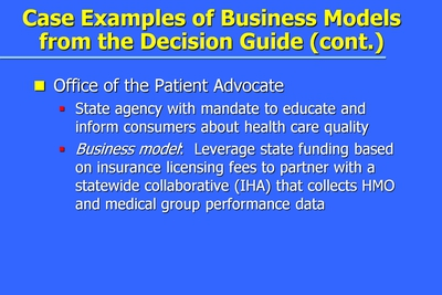 Case Examples of Business Models from the Decision Guide (cont.)