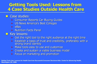 Getting Tools Used: Lessons from 4 Case Studies Outside Health Care