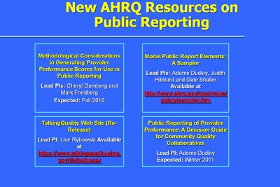New AHRQ Resources on Public Reporting