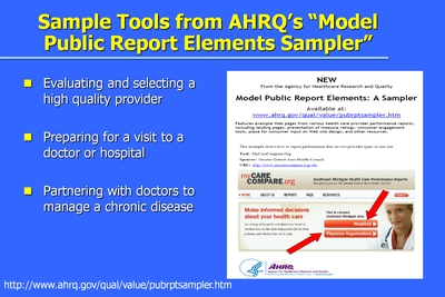 Sample Tools from AHRQ's Model Public Report Elements Sampler