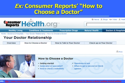 Ex: Consumer Reports How to Choose a Doctor