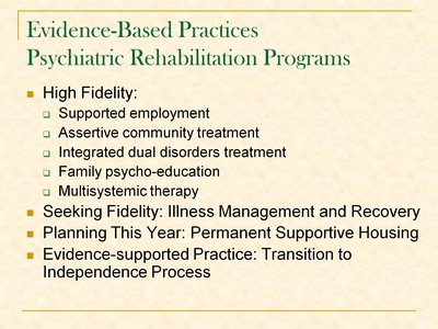 Evidence-Based Practices Psychiatric Rehabilitation Programs