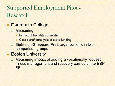 Supported Employment Pilot - Research