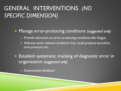 General Interventions (No Specific Dimension)
