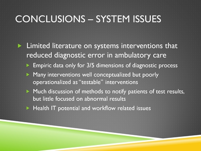 Conclusions-System Issues