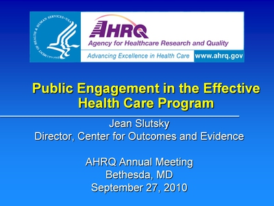 Public Engagement in the Effective Health Care Program