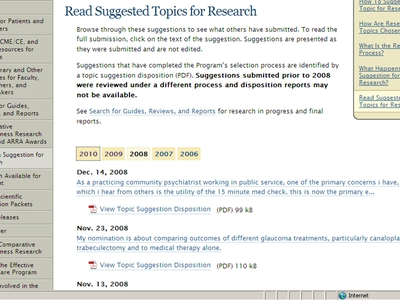 Screen Shot of the Effective Health Care Web site's page on suggested topics for research