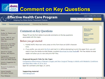Comment on Key Questions