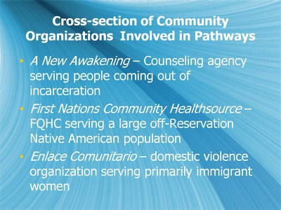Cross-section of Community Organizations Involved in Pathways