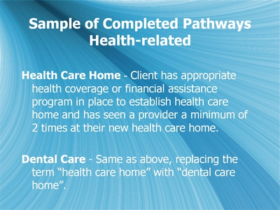Sample of Completed Pathways: Health-related