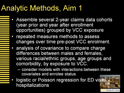Analytic Methods, Aim 1