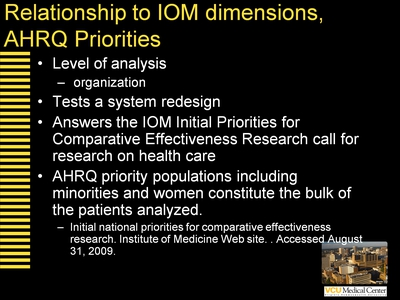 Relationship to IOM dimensions, AHRQ Priorities