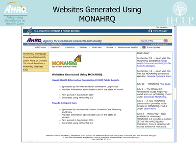 Websites Generated Using MONAHRQ