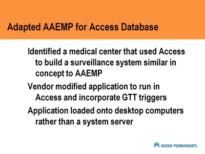 Adapted AAEMP for Access Database