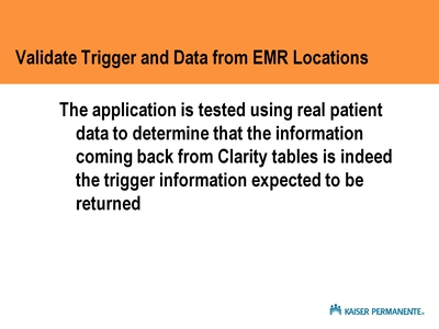 Validate Trigger and Data from EMR Locations