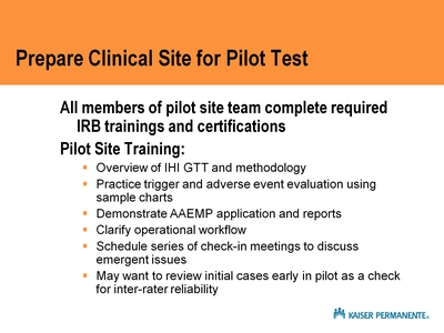 Prepare Clinical Site for Pilot Test