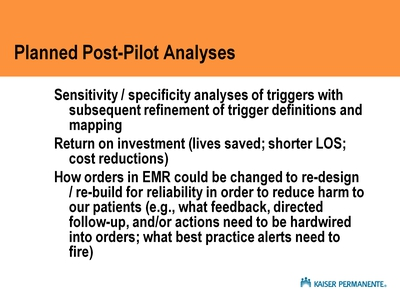 Planned Post-Pilot Analyses