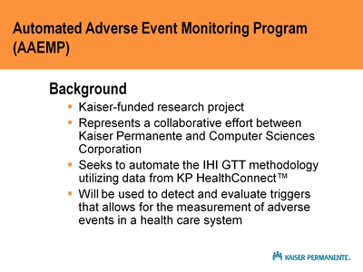 Automated Adverse Event Monitoring Program (AAEMP)