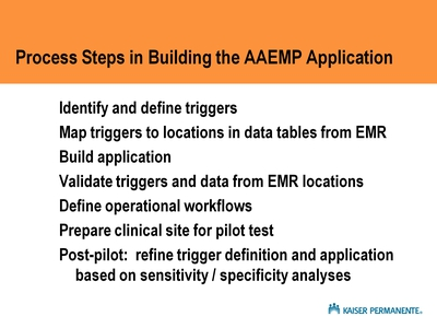 Process Steps in Building the AAEMP Application