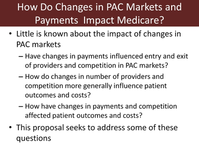 How Do Changes in PAC Markets and Payments Impact Medicare?